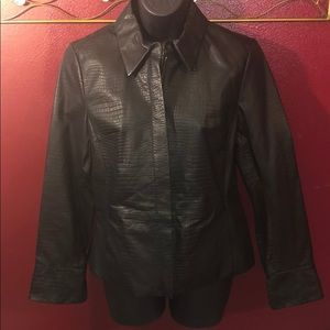 Apostrophe Reptile Embossed Genuine Leather Jacket